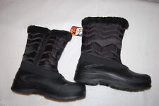 Womens BLACK QUILTED WINTER SNOW BOOTS Cold Weather SHERPA LINED Faux Fur Trim 6