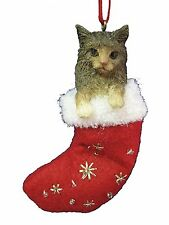 MAINE COON CAT in Stocking Christmas Ornament-Santa's Little Pals-by E&S Pets