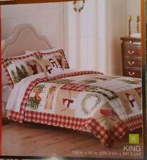 "St Nicholas Square ""Yuletide"" KING Reversible Quilt NEW 108 x 95"