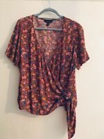 New Look Size 16 Wrap Top Leaves Floral Autumn Winter Boho Indie Chic