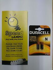2 x NEW DURACELL 1.5V ALKALINE BATTERY N SIZE MN9100 LR1 AUTOMATIC GARAGE ALARM