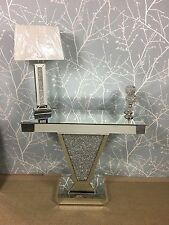 Sparkling Silver Mirror Crushed Crystal Glitz V Console Display Dressing Table