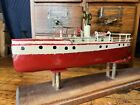 JC26 Antique Ives 1910s Scout Patrol 12 Toy Tin Wind Up Boat Rare Works W/ Key