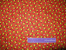 Camp Peanuts Woodstock Bird Marshmallow Red Cotton Fabric BY THE HALF YARD
