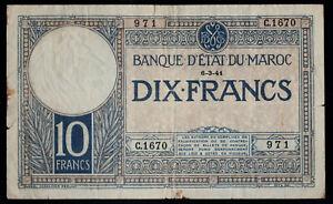 Morocco 10 Francs 1941, Pick #11b