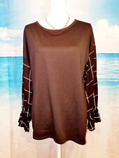 HAILEY & Co., Womans Career Casual Top Lightweight Stretch BLACK Shirt size Lg