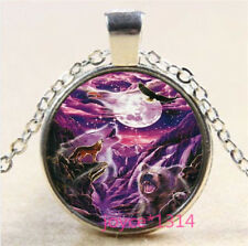Bald eagle and Wolf Cabochon Tibetan silver Glass Chain Pendant Necklace #3545