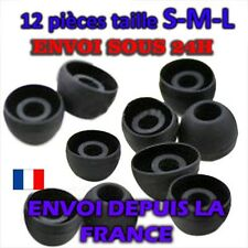 X12 EMBOUTS SILICONE ECOUTEURS INTRA AURICULAIRE noir Galaxy S2 S3 S4 ACE S-M-L