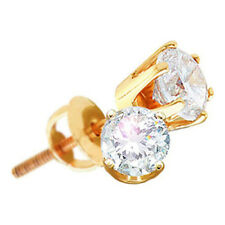 14k Yellow Gold Round Diamond Solitaire Screwback Stud Earrings Mens Womens 1/4