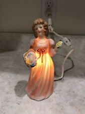 NOS Vintage Night Light Perfume Diffuser Porcelain Girl Figurine I W Rice & Co.