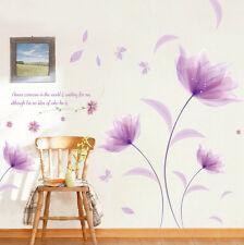 PVC Beautiful Purple Flowers Wall Sticker Removable Home Art Mural room Decor