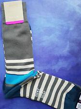 Paul Smith Da Uomo Calzini Barca Stripe Grigio Bianco & Blu F811 Mix di Cotone Taglia Unica