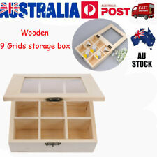 9 Compartments Wooden Tea Bag Storage Box ewelry Container Organizer Glass Top