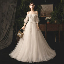 Elegant off-shoulder balloon sleeve wedding dress bridal gown tulle trail