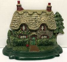 "Old CAST IRON Painted HOUSE/Cottage DOORSTOP/Door-Stop-8""H X 10.5""W-Trees&Shrubs"