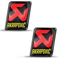 2 Resinati 3D Adesivi Akrapovic Scarico Racing Sponsor Exhaust Logo Auto Moto