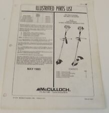 McCulloch Illustrated Parts List Pro Mac III and IV and AV Super Brushcutter