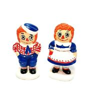 """Vintage 1974 Raggedy Ann And Andy 4"""" Ceramic Figurines By Bobbs Merrill"""