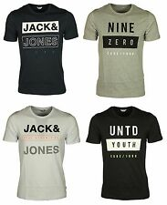 MENS NEW TSHIRT SHORT SLEEVE JACK & JONES IN GREY WHITE BLACK NAVY COLOURS M-XL