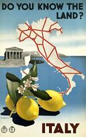 "Vintage Illustrated Travel Poster CANVAS PRINT Map of italy  24""X16"""