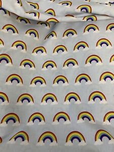 5 Metres Grey Clouds Rainbow 100% Cotton Fabric. 150gsm (end Piece)