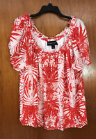 Plus Size Colleen Lopez Women's Red & White Off The Shoulder Top-NWT-Size 3X