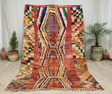 Moroccan Boujaad Vintage Handmade Rug 5'7x8'3 Berber Colorful Geometric Wool Rug