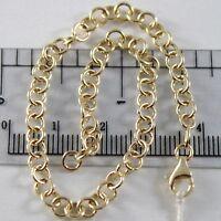 Bracelet or Jaune ou Blanc 750 18K Rolo, Cercles 4 mm, 19 cm, Fabriqué en Italie