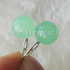 neu ankommen! Schön 925 Sterling Silber Hebel zurück 10mm hellgrün Jade Ohrringe
