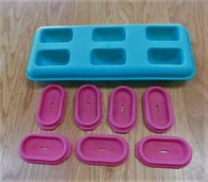Tupperware Popsicle ICE TUPS Replacement Tray and 7 Lids~Green/Pink