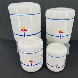 """Set of 4 - Riva Designs """"TULIPS"""" Hand Painted Kitchen Canisters Japan"""