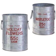 Raz Imports Tree Farm Holiday Mistletoe Christmas Small Buckets Set of 2