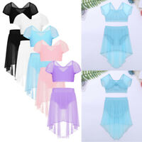 UK Kids Girls Lyrical Ballet Dance Dress Mesh Overlay Skirt Gymnastics Dancewear