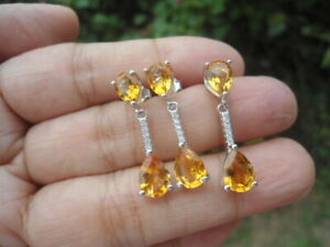 NATURAL Golden Yellow CITRINE & CZ STERLING 925 SILVER EARRINGS & PENDANT SET