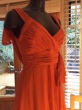 Karen Millen Orange silk knee length evening dress size 10
