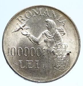 1946 ROMANIA Michael I Romanian Lady Bird Antique Silver 100000 Lei Coin i96089