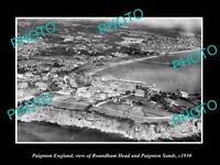 OLD LARGE HISTORIC PHOTO OF PAIGNTON ENGLAND, THE TOWN & ROUNDHAM HEAD c1930