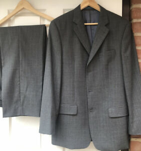 TED BAKER ELEVATED GREY PINSTRIPE SINGLE BREASTED SUIT - CHEST 40R W34 L31