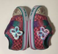 Skechers Twinkle-toes Shoes Sneakers Baby Girl Size 5 Butterfly Strap LIGHT UP
