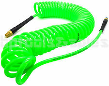 """1/4"""" x 30 foot Green Polyurethane Re Coil Air Hose Male Swivel Fittings Recoil"""