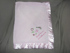 JUST ONE YEAR PINK SHERPA SATIN THANK HEAVEN FOR LITTLE GIRLS FLOWER BLANKET