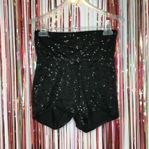 Curtain Call Costumes Black Sequin High Waist Dance Shorts Jazz - Adult Medium