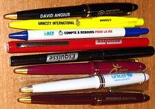 Lot de 8 STYLOS PUBLICITAIRES PEN ADVERTISING NEUFS (UNICEF, AMNESTY INT. etc...
