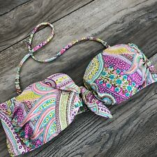 Victoria's Secret Swimwear Swim Bikini Top Strapless Halter Size S Small Paisley