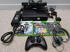 XBOX 360 Console LOT: Console + Kinect + Controller + Headset + Cables + Games