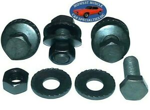 "58-81 GM 1-1/4"" NOSR Bumper Bracket Frame Adjustment Bolts & Toothed Washers EK"