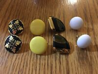 Vintage 40's 50's Clip On Earrings Gold Black White And Yellow Colors - Set Of 4