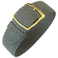 20mm EULIT Panama Grey Woven Nylon Perlon GOLD Buckle German Watch Band Strap