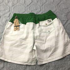 New Taylor Vintage Colorblock White Green Swim Shorts Back Pocket XXL $78
