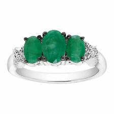 1 3/4 ct Natural Emerald Trio Ring with Diamonds in Sterling Silver